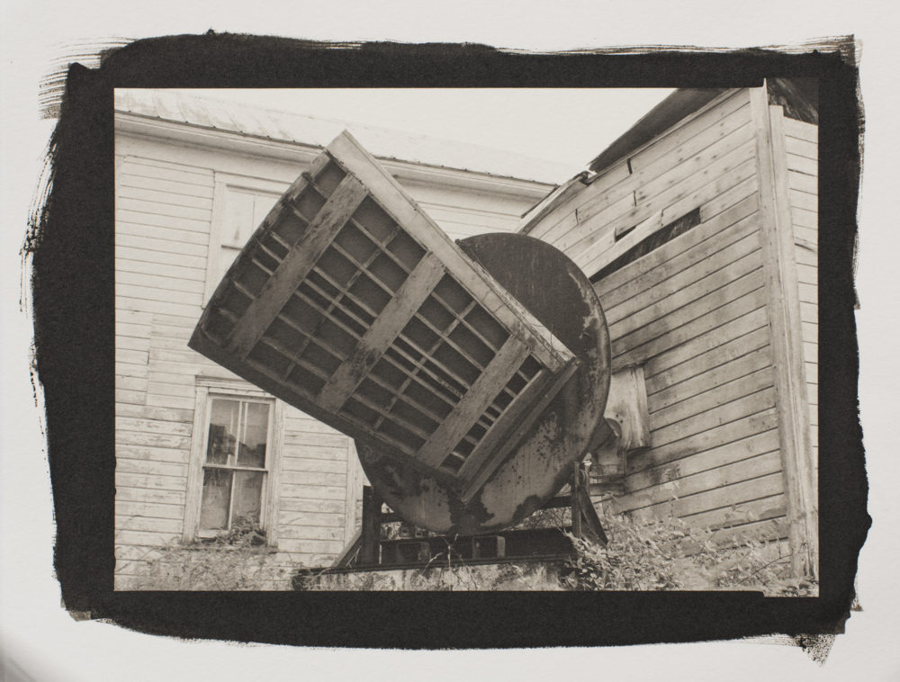 A platinum/palladium print of one of the oldest telescopes at Green Bank National Radio Astronomy Observatory, in the back of the Beard House.