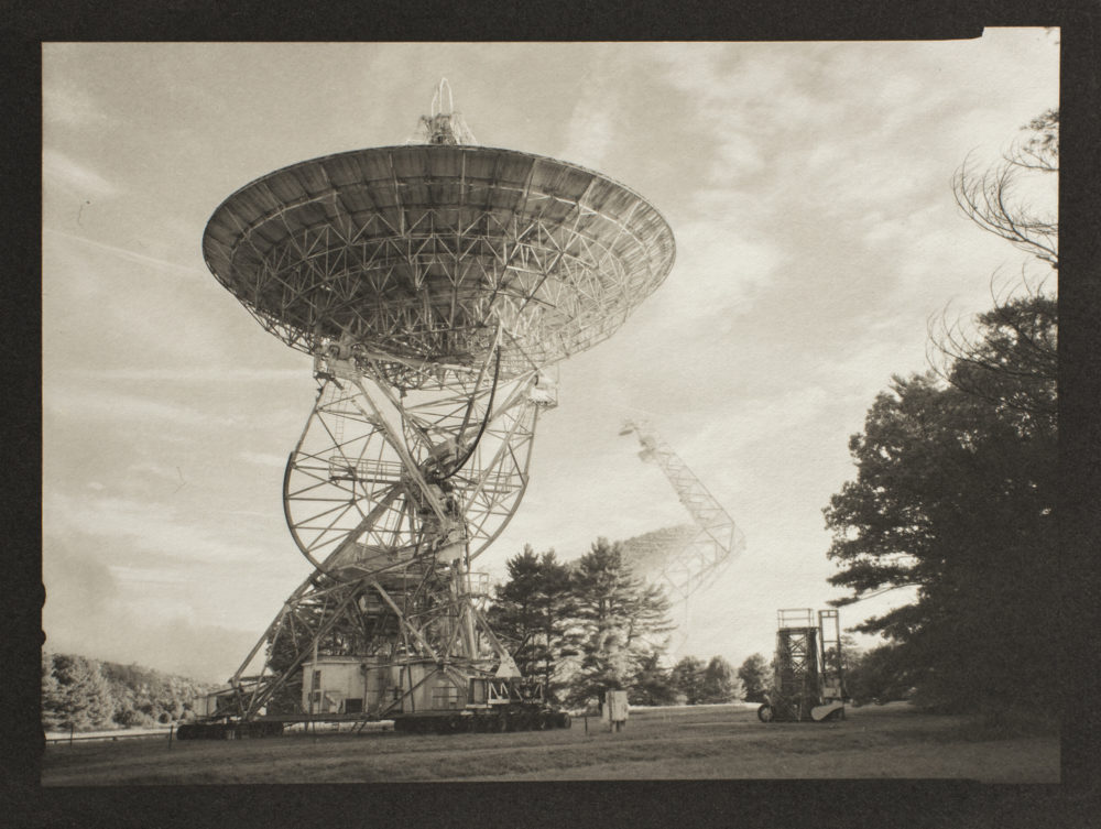 A platinum/palladium print of 85-2 Radio Telescope with Green Bank Telescope, at the Green Bank National Radio Astronomy Observatory
